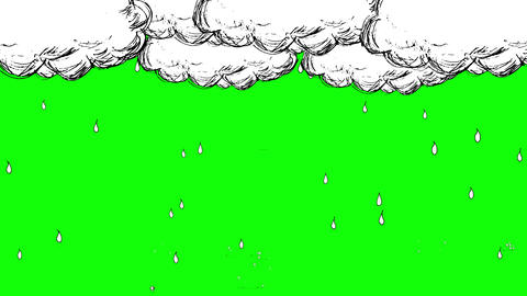 Handwritten animation style rain and cloud_ Chroma key Animación