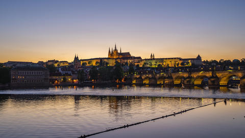 Prague city skyline day to night time lapse of Prague old town in Czech Republic Footage