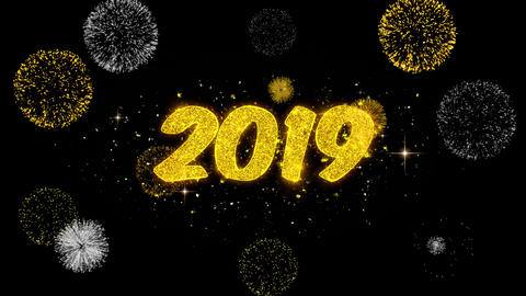 Happy New Year 2019 golden Text blinking particles with golden fireworks Display Footage