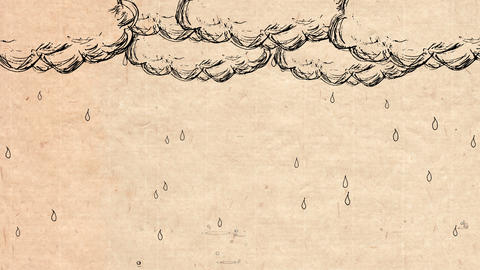 Handwritten animation style rain and cloud_ brown paper CG動画素材