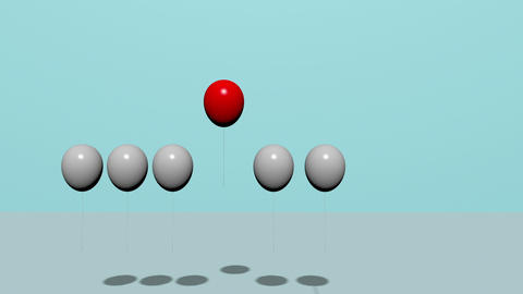 animation - Stand out from the crowd and different concept , One red balloon Animation