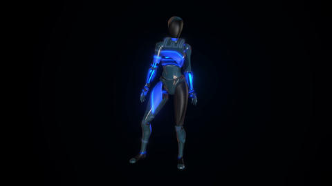Animation of robot who dance on black background Animation