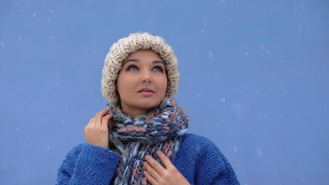 Winter young woman portrait Footage