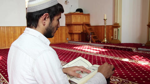 Reading Quran in Mosque Footage