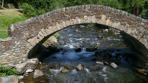 Front view of a small stone bridge of Romanic style 영상물