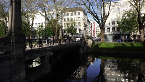 Pond of Konigsallee Canal, Dusseldorf Footage