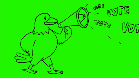 American Eagle Bullhorn Vote Drawing 2D Animation Animation
