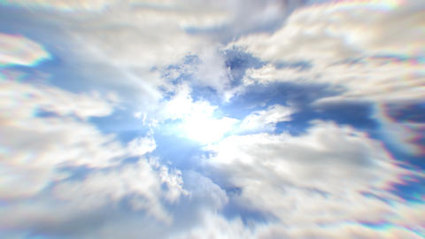 White clouds flying blue sky time lapse. Cumulus clouds fast flying sky GIF