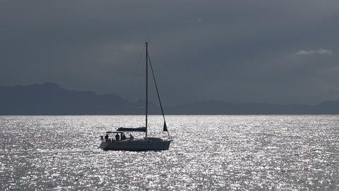 Sunlit calm sea crossed by sailing boat with passengers, summer recreation Live Action