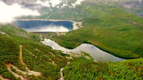Aerial footage road in Norway. Beautiful Nature Norway. Troll Ladder Live Action