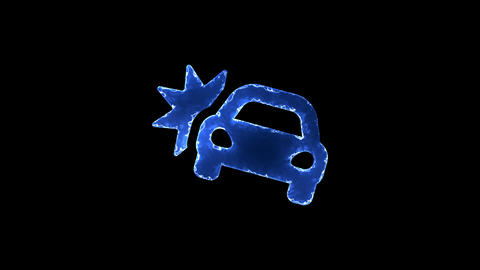 Symbol car crash. Blue Electric Glow Storm. looped video. Alpha channel black Animation
