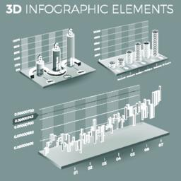 Corporate Infographic Elements In Gray And White ベクター