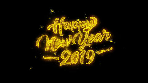 Happy New Year 2019 Typography Written with Golden Particles Sparks Fireworks Live Action