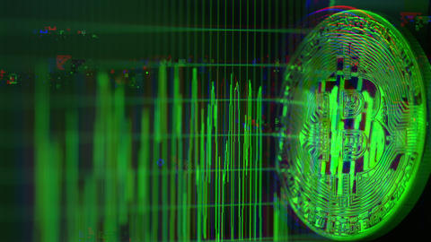Glitch noise video of bitcoin BTC token reflecting computer screen graph Live Action