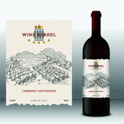 Wine Barrel Label with bottle Front Label Vector