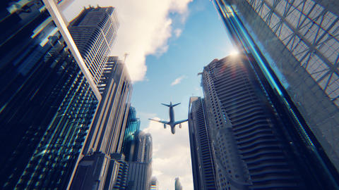 A passenger plane flies over a modern megapolis at sunrise Animation