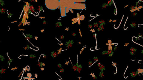 Candy cane and gingerbread man Animation