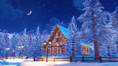 Snow covered alpine mountain house at winter night ビデオ