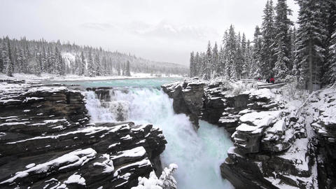 4k Athabasca Falls and river in Canada on the icefield parkway Live Action