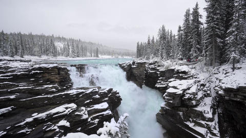 Slow Motion 100fps Athabasca Falls and river in Canada on the icefield parkway Live Action