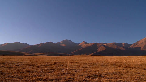 Mountains and foothills of Kazakhstan, mountain landscape, evening lighting Live Action
