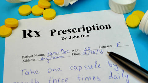 Prescription for tablet pills or drugs Footage