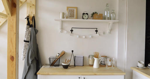 Furniture and dishware in kitchen Footage