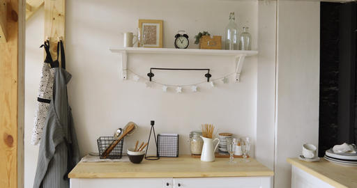 Furniture and dishware in kitchen Stock Video Footage