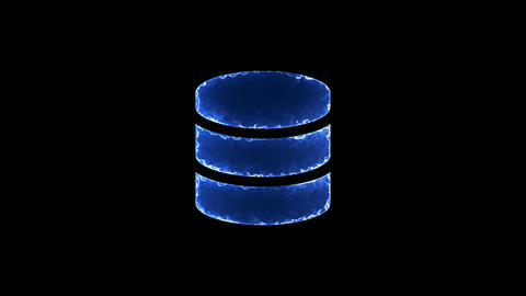 Symbol database. Blue Electric Glow Storm. looped video. Alpha channel black Animation