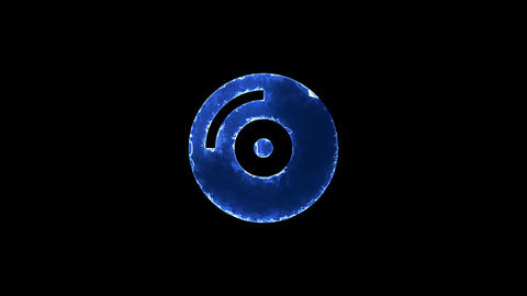 Symbol compact disc. Blue Electric Glow Storm. looped video. Alpha channel black Animation