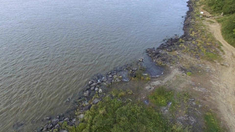 top aerial view of rocky coast of sikachi alyan Footage