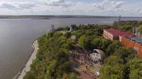 Aerial view of Khabarovsk city, Russia Top view of city and Amur river Live Action