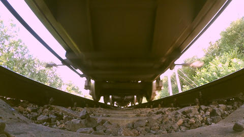 Passing train bottom view wide angle Footage