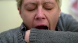 Tired Woman Yawning! stock footage