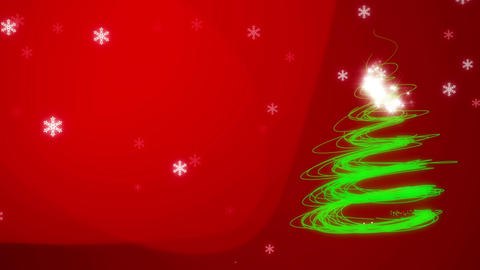 Christmas and New Year: Sparkling and glittering Xmas tree and snowflakes Animation