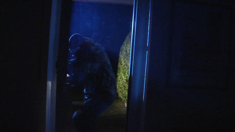 burglar open porch door comes in 10840 Stock Video Footage