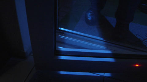 burglar open laser saved door 10842 Stock Video Footage