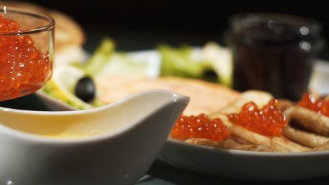 Pancake with red caviar Stock Video Footage