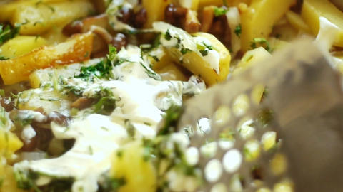 Fry a potato Stock Video Footage