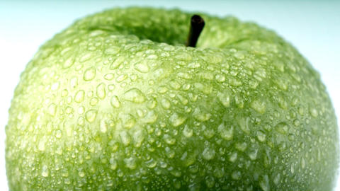 Green apple with dew Footage