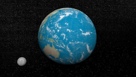 Earth And Moon - 3D Render stock footage