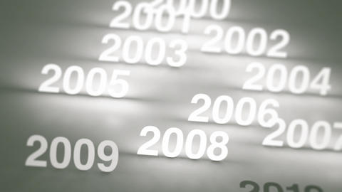 Glowing Numbers Timeline: 2000s And 2010s stock footage