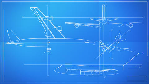 Aircraft Technical Drawing Blueprint Time Lapse Stock Video Footage