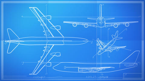 Aircraft Technical Drawing Blueprint Time Lapse Animation