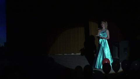 The actress on the stage in a beam of light Footage