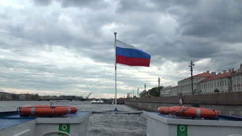 The Russian flag on the boat Stock Video Footage