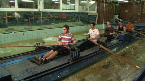 Simulator canoe rowing Stock Video Footage