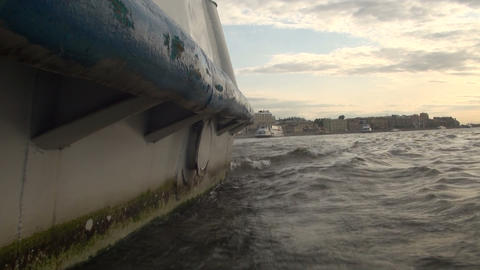 Board the boat travel on the water Stock Video Footage