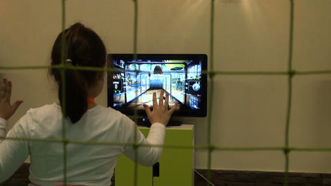 Girl playing in the computer game Stock Video Footage