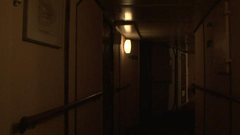 The corridor of the ship Stock Video Footage